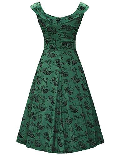 MUXXN Falda de Oscilación de Velada Cóctel Impresión Cuello Barco Retro 1950s para Mujer Deep green