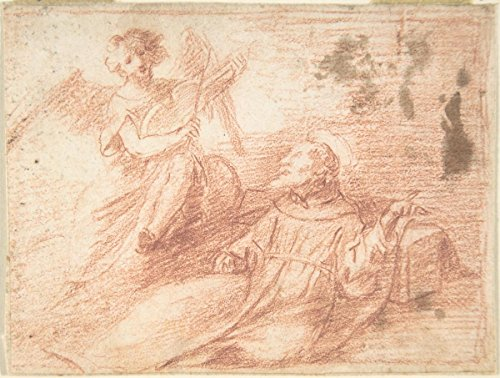 (Historic Pictoric Fine Art Print | Spanish, School of Seville, 17th Century | Saint Francis and an Angel with a Viola da Braccio (The Ecstasy of Saint Francis) | Vintage Wall Art | 14in x 11in)