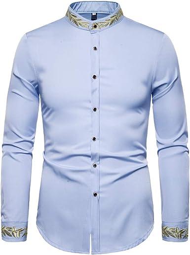 Elegeet - Camisa de Manga Larga para Hombre, Estilo Hipster ...