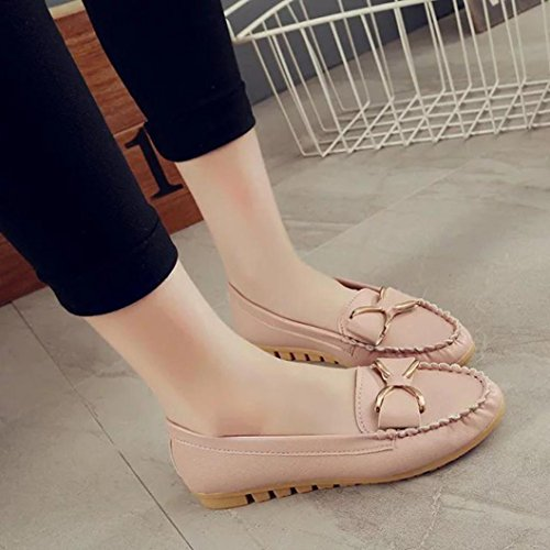 Women's Slippers, Kaiki Frauen beiläufiger Beleg auf flachem atmungsaktiver weicher unterer Freizeit Erbsen Boots Schuhen Pink