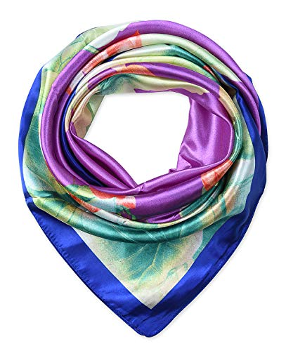 (Womem's Silk Feeling Head Scarf Headband 35x35 inches Lotus Floral Medium Orchid by corciova)