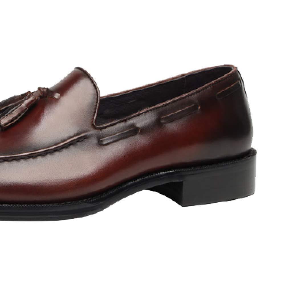 Set Schuhe Europäischen Version Quasten Verschleißfesten Business Atmosphäre Runden Kopf Verschleißfesten Quasten Deodorant Breathable ROTdishBraun e771d3