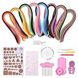 Quilling Art DIY Paper Quilling Tools Set - Multi-Colors Strips Quilling Paper with 12 Quilling Tools - Full Set Starter Scrapbooking Quilling Paper Quilling Tool Kit(Total 960 Strips Paper)