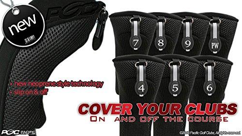Black All Hybrid Headcover Set 4 5 6 7 8 9 Pw Golf Club Covers Head Cover Neoprene Mesh ()