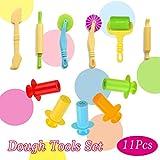 Play Dough Tools kit 11 Piece Assortment Dough Cutting Tool Including Wide Rolling Pin BigNoseDeer