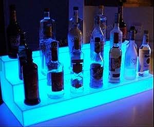 LED Light Shelf Liquor Bottle Shelves Bar Display 2ft 3 tier Color Changing Multi Color LED with 110V Remote Control