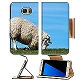 Luxlady Premium Samsung Galaxy S7 Edge Flip Pu Leather Wallet Case IMAGE ID 8015006 Sheep kneeling on a dyke