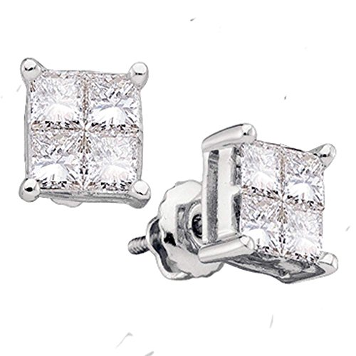 14kt Gold Birthstone Cluster Earrings (14kt White Gold Womens Princess Diamond Square Cluster Stud Earrings 1/4 Cttw)