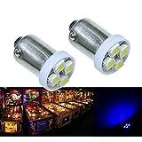 PA® 10PCS #1893 #44 #47 #756 #1847 BA9S 4SMD LED Wedge Pinball Machine Light Bulb Blue-6.3V