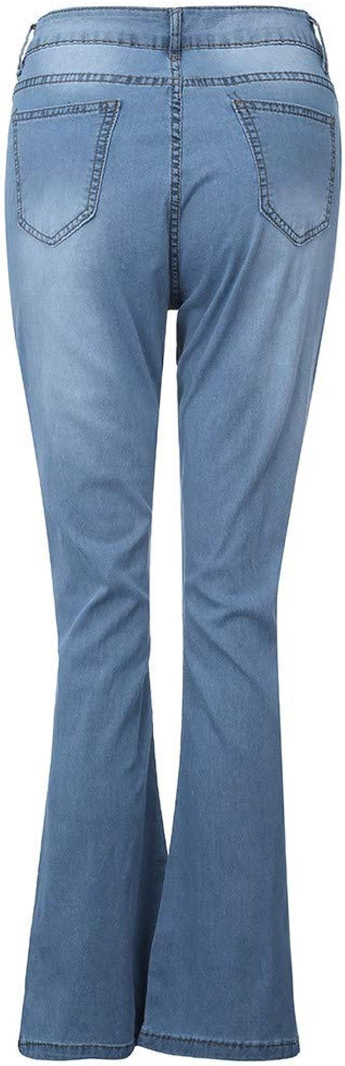 SADUORHAPPY Womens Drawstring Jeans Comfy Stretch Ripped Jeans Distressed Frayed Denim Skinny Jeans
