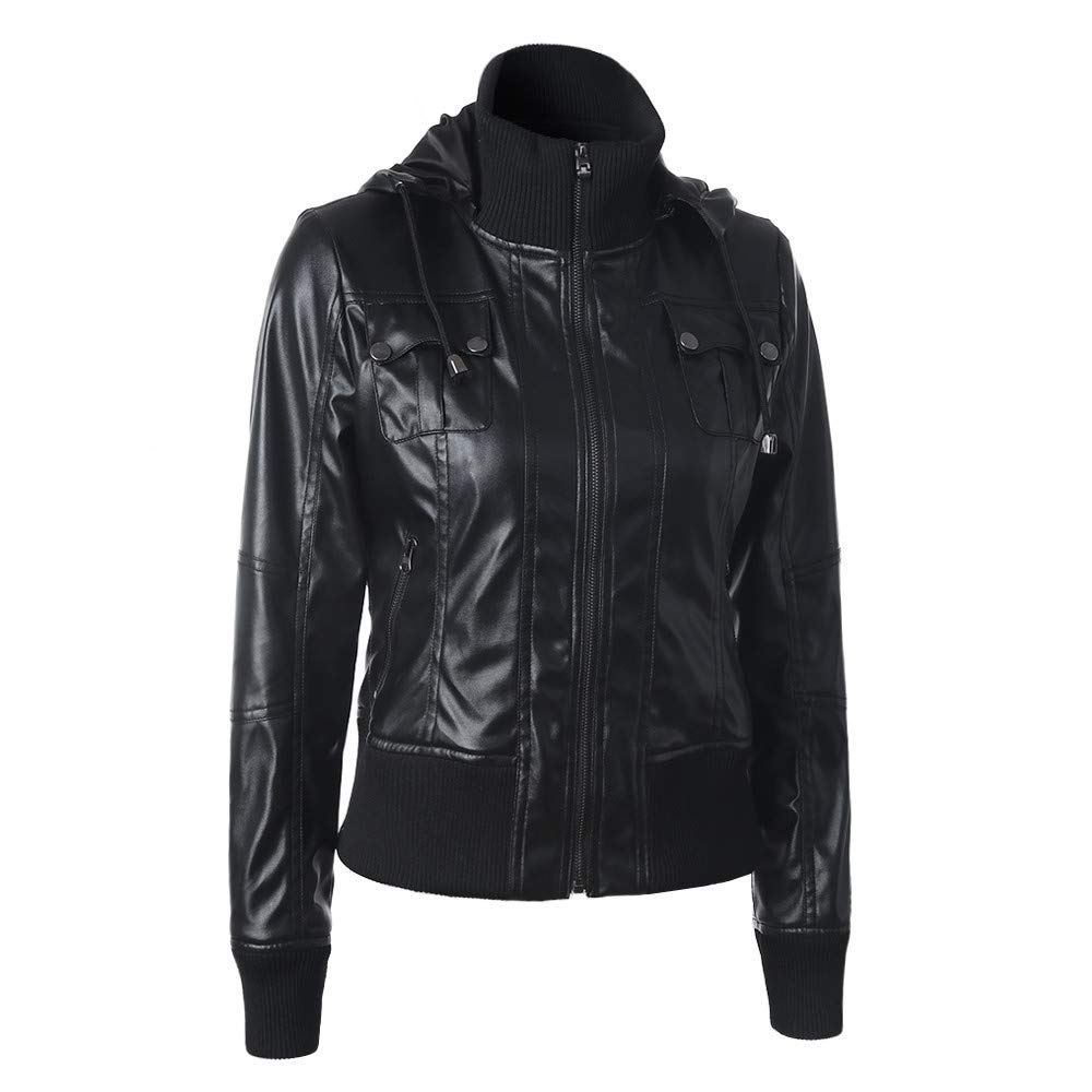 Women's Leather Coats Clearance-Jiayit Removable Zipper Cap Splicing Hooded Jacket
