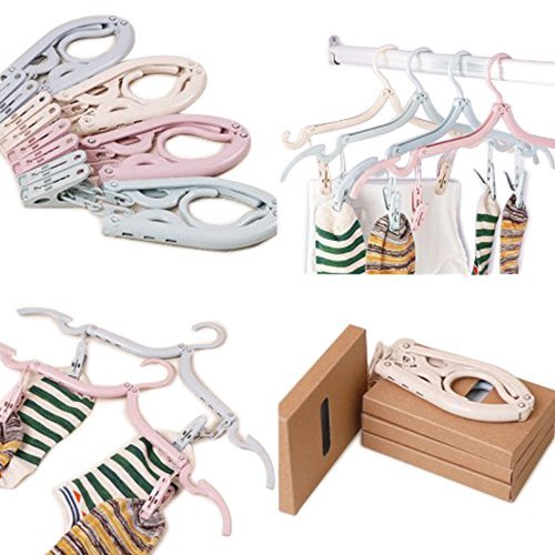 SuperSWK Pack of 4 Plastic Portable Foldable Travel Non Slip Grooves Clothes Hangers Hook Rack with 8 Hanger Clips for Scarves Suits Trousers Pants Shirts (Pink, Blue, Beige, (Groove Wood Poles)