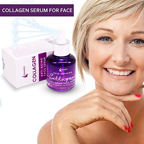 51XhT0ugoaL - Collagen Face Serum with Peptides & Hyaluronic Acid. Skin Care, Plumps, Firms, Corrects. Anti aging Face Serum