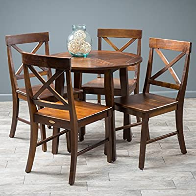 """Christopher Knight Home Carridge Wood Round Table and Chairs Set, 5-Pcs Set, Rich Mahogany - Chairs: 28. 90"""" D x 17. 75"""" W x 35"""" H, Square table: 31. 50"""" L x 31. 50"""" W x 29. 50"""" H 5Pc dining Set includes 4 chairs and 1 round table Constructed with Mahogany stained Acacia wood - kitchen-dining-room-furniture, kitchen-dining-room, dining-sets - 51XhT9FzbEL. SS400  -"""