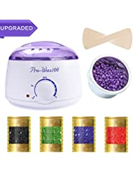 Wax Warmer, Hair Removal Waxing Kit Electric Hot Wax Heater Rapid Melt Hard Wax with 4 Hard Wax Beans and 10 Sticks for Home Waxing Spa for Face Bikini Legs Armpit for Women and Men [UPGRADED]