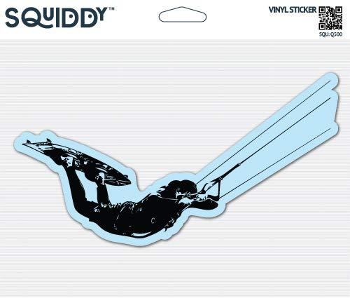 - Squiddy Kite Surfing - Vinyl Sticker Decal for Phone, Laptop, Water Bottle (3