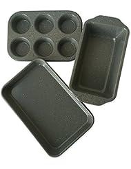 casaWare Toaster Oven 3-Piece Set (Silver Granite)