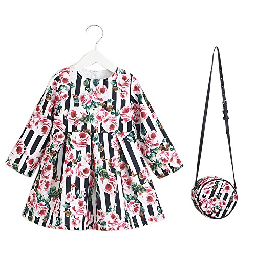 IsabelaKids Kids Girls Dress With Bag Flower Dresses For Girls Clothes (Flowers, 110)