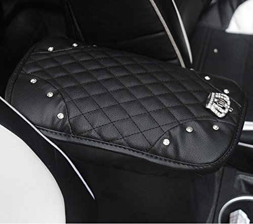 Sino Banyan Car Leather Crown Center Console Cover,Decoration Pad Cushion(7.67 x 11.81 inch),Black - Center Cover Steering Wheel Wheels