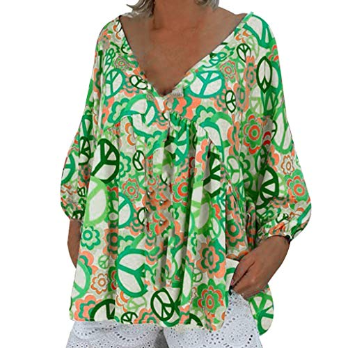 Women's Floral Printed Long Sve Henley V Neck Pleated Casual Flare Tunic Blouse Shirt Sexy Loose Top Tee Green
