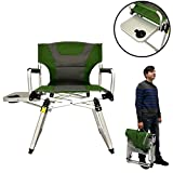 Directors Chair – Camping Chair – Folding Sports Chair with Side Table and Carry Handle – Green with Gray Trim