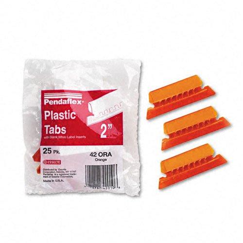 Pendaflex Hanging Folder Tabs, 2'', Clear Orange, 25 Tabs and Inserts per Pack (42 ORA)