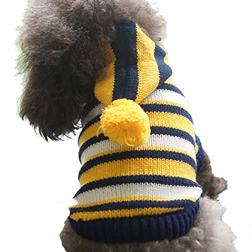 YONGYONG Dog Clothes Autumn and Winter New Paddington Striped Sweater Pet Clothes Teddy Pet Clothing (Color : Yellow, Size : M)