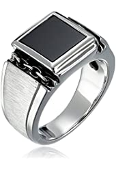 Men's Sterling Silver Square Onyx Ring