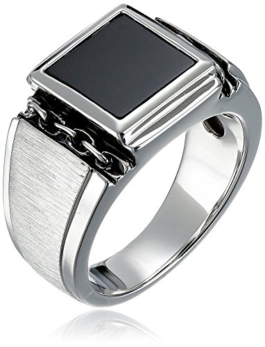 (Men's Sterling Silver Square Onyx Ring, Size 10)