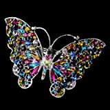 Marlena Multi Colored Rhinestone Butterfly Wedding Bridal Barrette - Special Occasion, Prom, Party