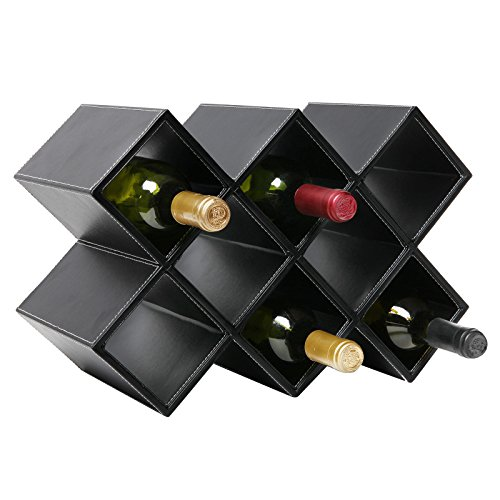 Modern Geometric Freestanding Synthetic Leather Wine Rack / 8-Bottle Storage Organizer, Black - MyGift by MyGift