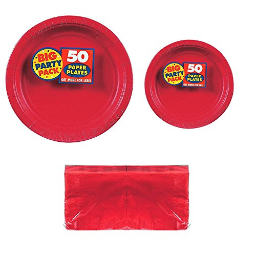 Big Party Pack Apple Red 50-Set (Dinner Plates, Dessert Plates, Luncheon Napkins) Party Avenue Bundle-Pack by Party Avenue