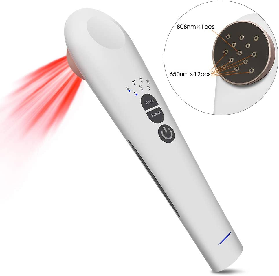 Cold Laser Red Light Therapy Device Pain Relief, Handhold, Low Level Infrared Light for Knee, Shoulder, Back, Joint and Muscle Pain Reliever, Safe for Pet, 3 Power 4 Timer