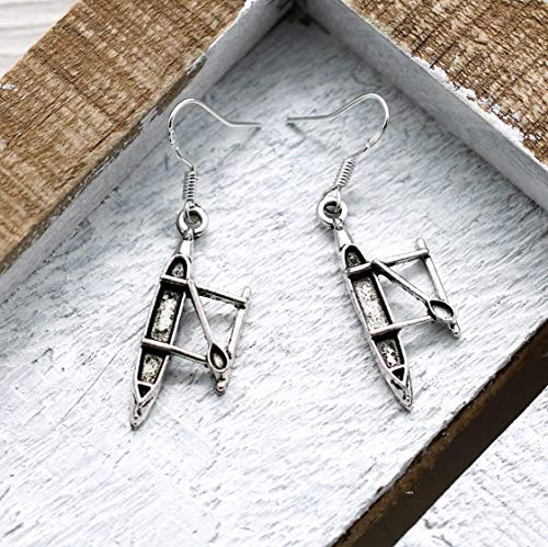 (Kayak Earrings for Women - 925 Sterling Silver Hooks - Kayaking Jewelry - Outdoors Themed Gifts)