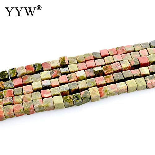 Calvas Natural Stone Beads Natural Unakite Beads 4x4mm Square Loose Stone Beads for DIY Making Bracelets Necklace Jewelry Findings