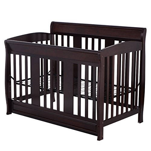 Galapagoz 4 in 1 Baby Crib Convertible Safety Childern Toddler Bed Daybed Full Size Bed Solid Pine (1 Iron Convertible Crib)