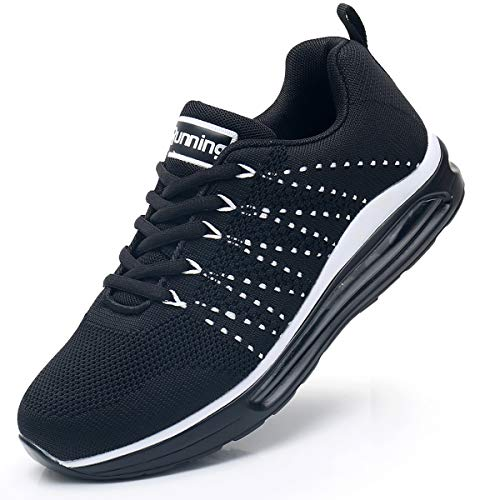 RomenSi Women's Air Cushion Sneakers Lightweight Casual Gym Sports Athletic Tennis Comfortable Casual Walking Shoes for Travel Black 7.5 B(M) US