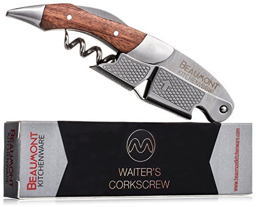 Top Rated Waiter's Corkscrew | Multi-function 3-in-1 Corkscrew, Bottle Opener, Foil Cutter | Efficient Double-Hinge | Steel Reinforced Worm | Sharp Serrated Foil Cutter | Premium Rosewood Review