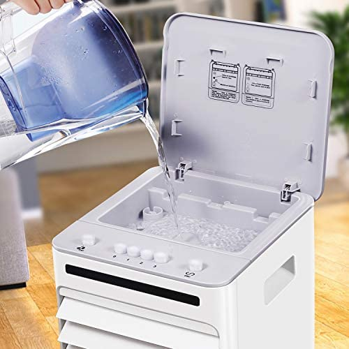 Elanket 4 in1 Portable Air Cooler with Humidifier and Air Purifier Functions, with High Powered Evaporative Air Cooler with Automatic Oscillation,Water Tank, 5 Litre, White