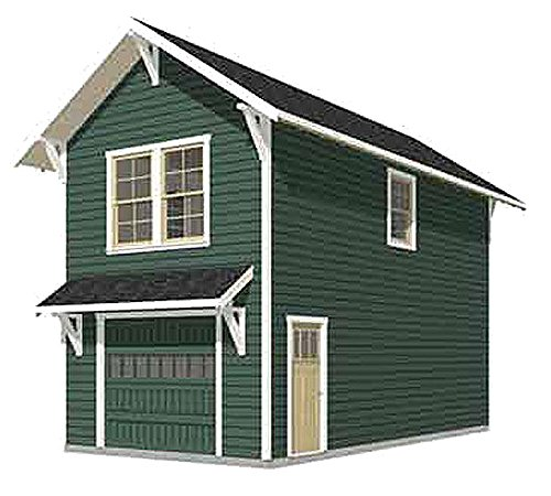 Garage Plans: Craftsman Style One Car Two Story Garage With Apartment - Plan 714-1apt ()
