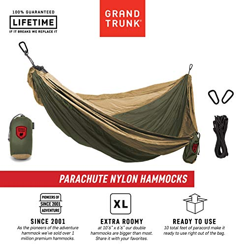 Grand Trunk Double Parachute Printed Nylon Hammock: Portable with Carabiners and Hanging Kit - Perfect for Outdoor Adventures, Backpacking, and Festivals, Olive - Parachute Grand Hammock Trunk