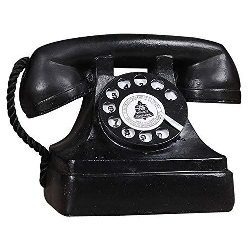 Antique Phone Props - Creative Vintage Decorative Phone - Cafe Bar Window Decoration Home Decor - Microphone Unremovable(Black)