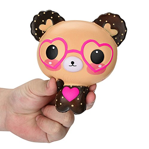 Wensltd Clearance! Squishy Love Cute Glasses Bear Scented Jumbo Charm Super Slow Rising Squeeze - Glasses Popular