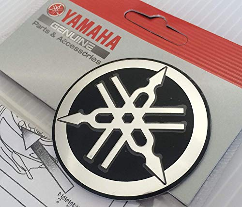 Yamaha Motorcycle Stickers - Yamaha 1YC-F313B-Q3-BL - Genuine 55MM Diameter Yamaha Tuning Fork Decal Sticker Emblem Logo Black / Silver Raised Domed Metal Alloy Construction Self Adhesive Motorcycle / Jet Ski / ATV / Snowmobile