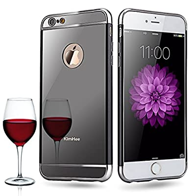 iPhone 6 case,iPhone 6S case, KimHee [Hybrid Fashion Cover Mirror] Ultra Thin Detachable Metal Frame Bumper + Clear Acrylic Back Panel