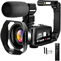 4K Video Camera Camcorder with Microphone 30FPS 48MP Vlogging Camera with Rotatable 3.0 Touch Screen and Time-Lapse…