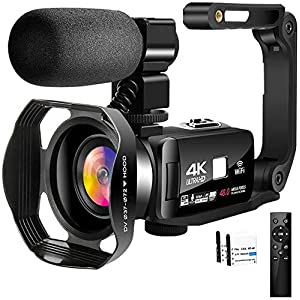 Flashandfocus.com 51XhW9IUn0L._SS300_ 4K Video Camera Camcorder with Microphone 30FPS 48MP Vlogging Camera with Rotatable 3.0 Touch Screen and Time-Lapse…