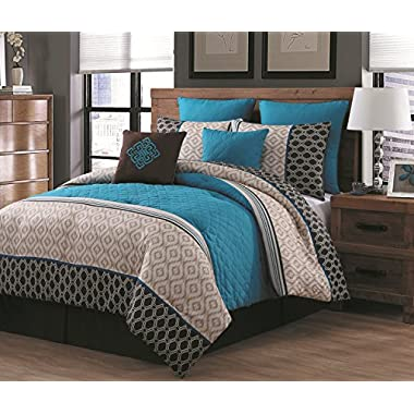Avondale Manor Barbara 8 Piece Comforter Set, Queen, Teal