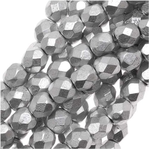 Polished Glass Beads 4mm Round Matte Metallic Silver (50) ()