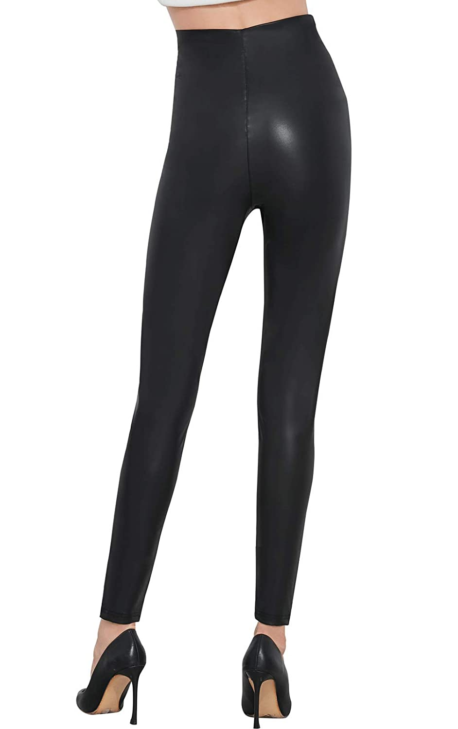 5d230e0d119 Pelisy Womens Faux Leather High Waisted Leggings Stretchy Skinny Leather  Pants at Amazon Women s Clothing store